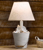 Cottage Mini Bucket of Shells Table Lamp