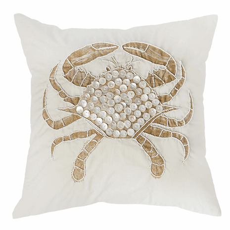 Crab Embellished Accent Pillow