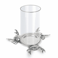 Crab Glass & Pewter Pillar Hurricane Centerpiece