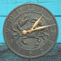 Crab Sea Life Indoor/Outdoor Wall Clock - Bronze Verdigris
