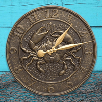 Crab Sea Life Indoor/Outdoor Wall Clock - French Bronze
