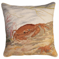 Crab & Sea Star Needlepoint Pillow