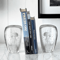 Crystal Bay Glass Jellyfish Bookends - Set of 2