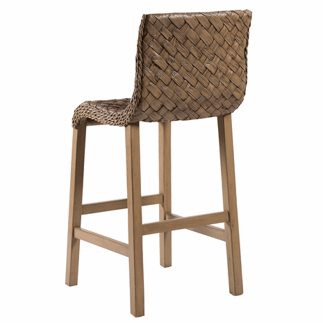Curved Seagrass Barstool - Dark Finish