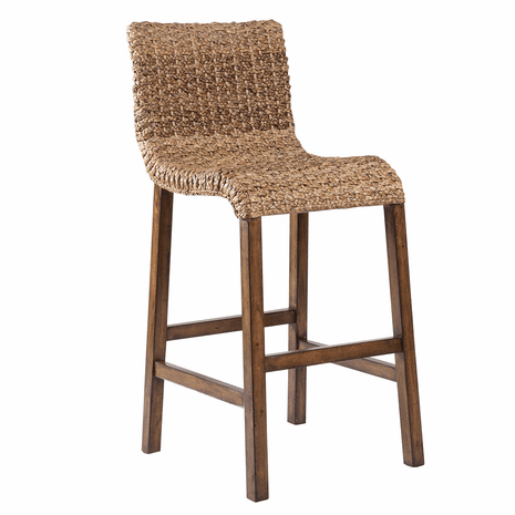 Curved Seagrass Barstool - Light Finish