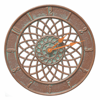 Dahlia Indoor/Outdoor Wall Clock - Copper Verdigris