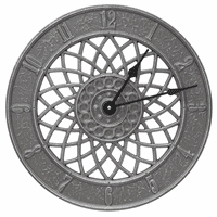 Dahlia Indoor/Outdoor Wall Clock - Pewter