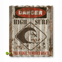 Danger High Surf Corrugated Metal Personalized Sign
