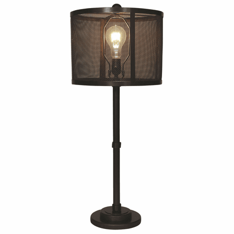 Dark Bronze Wire Wrapped Table Lamp with Metal Mesh Shade