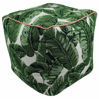 Dark Green Palms Indoor/Outdoor Square Pouf