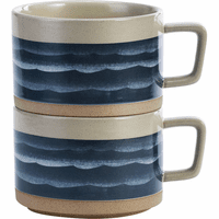 Deep Blue Waves Soup Mugs - Set of 2
