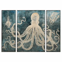 Deep Sea Denizens Tryptych Framed Wall Art