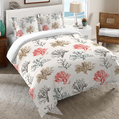 Delicate Coral Duvet Cover - Twin