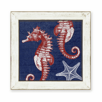 Denim Wash Seahorse Framed Art