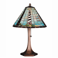 Diagonal Striped Stained Glass Lighthouse Table Lamp