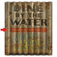 Dine by the Water Personalized Corrugated Metal Sign