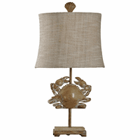 Distressed 3-D Crab Table Lamp