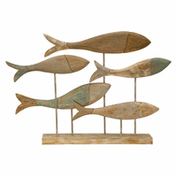 Distressed Mango Wood Fish School Statue