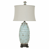 Distressed Pale Blue Table Lamp