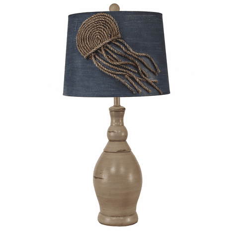 Distressed Table Lamp with Jellyfish Shade