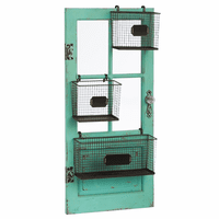 Distressed Teal Vertical Door Frame with Storage Baskets
