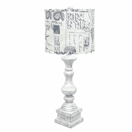 Distressed White USB Table Lamp with Postcards Shade
