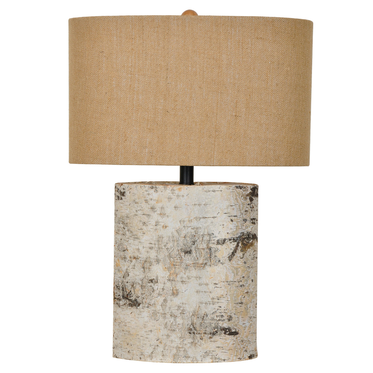 Distressed White Wood Chunk Table Lamp