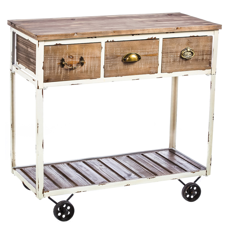 Distressed Wood Hall Table With Wheels