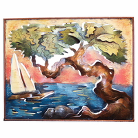 Divi Tree with Sailboat at Sunset Metal Wall Art