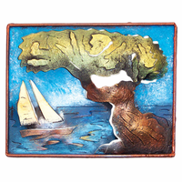 Divi Tree with Sailboat Metal Wall Art