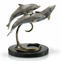 Dolphin Trio on Black Marble Base