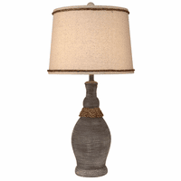 Driftwood Slender Neck Pot Accent Lamp with Rope