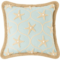 Embellished Blue Starfish Pillow