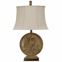 Embossed Crane Scene Table Lamp