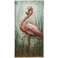 Embossed Pink Flamingo Metal Wall Art