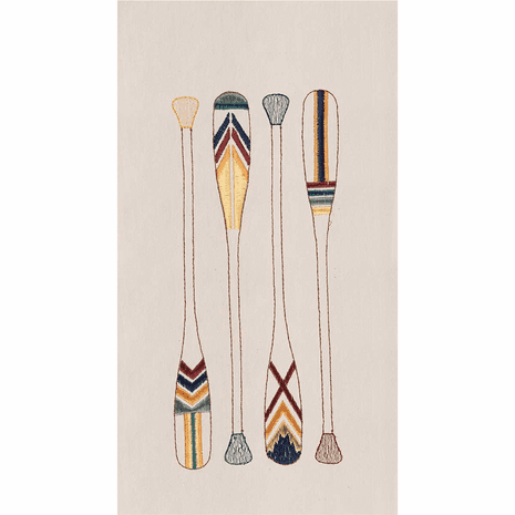 Embroidered Oars Flour Sack Towels - Set of 6