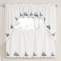 Embroidered Sailboats Window Treatments