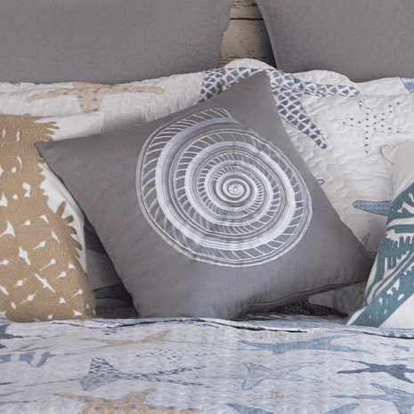 Embroidered Shell Accent Pillow - 18 x 18