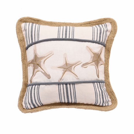 Embroidered Starfish & Stripes Pillow
