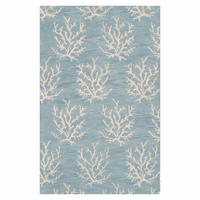 Escape Small Coral Sky Blue Rug - 2 x 3 - OVERSTOCK