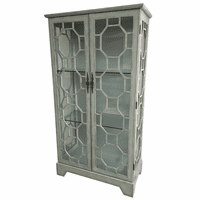 Evelyn 2 Door Gray Glass Curio with Fretwork