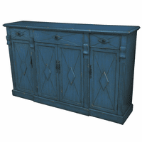 Everett 3 Drawer 4 Door Breakfront Royal Blue Sideboard