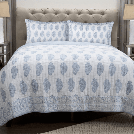 Faded Blue Flower Quilt - King