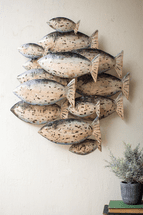 Family of Fish Recycled Metal Wall Art