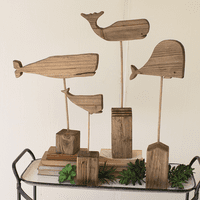 Family of Whales Statues - Set of 4