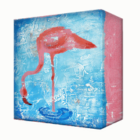 Feeding Flamingo Aluminum Wall Art