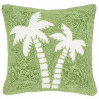 Festive Palms Hooked Pillow
