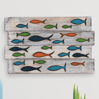 Fish School Wood Wall Art