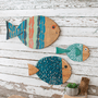 Fish Trio Hand Painted Wood Wall Art - Set of 3