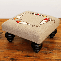 Fishing Rod and Lures Hooked Wool Footstool
